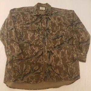 Vintage Mossy Oak Original Shirt Jacket Mens XL Long Sleeve Camouflage USA GUC