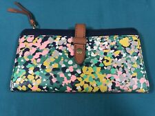 Fossil Fiona Pink Floral Navy Blue Clutch Bifold Wallet