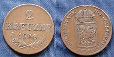 MONETA COIN MONNAIE AUSTRIA ÖSTERREICH 2 KREUZER 1848 (A) REVOLUTION - BRONZE -