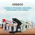 AREBOS Robot de Cuisine 1800W 6L Acier inoxydable-Bol mélangeur 6 étapes <br/> ✔ Fouet ✔ Crochet à pâte ✔Silencieux ✔Accessoires incl.