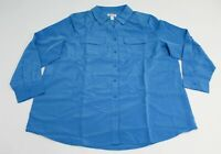 Denim & Co Women's Double Chest Pocket Button Shirt NB7 Blue Size XL NWT