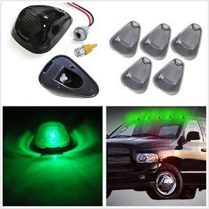5 X Smoked Lens Green LED Car Cab Roof Running Marker Light Top Running Lamp