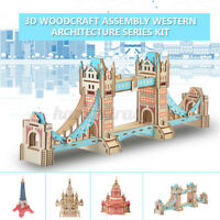 3D Wooden Puzzle Jigsaw Woodcraft Modelling Puzzle Educational DIY Toys