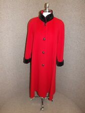 Classy Upscale Vtg Leslie Fay BOLD RED WOOL & BLACK PERSIAN LAMB LONG COAT M/L