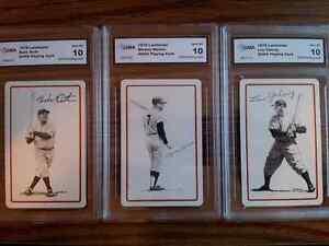 3X LOT RUTH-MANTLE-GEHRIG LANDSMAN CARDS 3X LOT ORIGINAL VINTAGE 10 GEM PRISTINE
