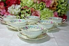 """Very Fine, Minton, """"Printemps"""" Hand Painted Cream Soup Bowls (6)"""