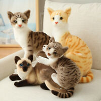 Realistic Simulation Cat Plush Toy Animal Doll kids Gift Home Statues Decor Cute
