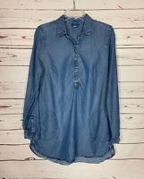 J.Jill Denim Women's M Tall Medium Blue Denim Long Sleeve Pocket Tunic Top Shirt