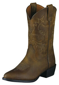 Ariat Heritage R Toe Kids Western Boots Distressed Brown