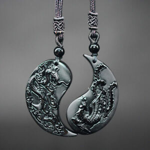 NEW Taiichi DUAL BLACK OBSIDIAN PENDANT Couple Charms DRAGON PHOENIX Necklace