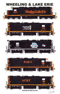 """Wheeling & Lake Erie Locomotives 11""""x17"""" Poster by Andy Fletcher signed"""