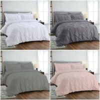 PINTUCK DUVET SET 100% EGYPTIAN COTTON QUILT COVER SINGLE DOUBLE KING BEDDING