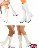 New Knee High Boots - 60's 70's Go Go Fashion Boots White Patent - Size 3-9 UK