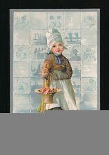 Netherlands Children Dutch girl in clogs flower basket Embossed c1920/30s? PPC