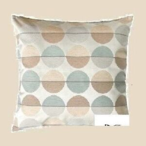 """Special order only Tan Gray MOD Circle Cushion COVER 20""""NEW Retired Seafoam"""