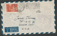 Greece 1949 air mail cover to Denver CO