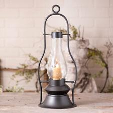 NEW! Prim Vintage Early American Black Metal Cloister Hurricane Candle Lantern