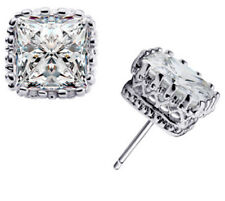 NEW Sterling Silver .925 Princess Cut Square Clear CZ Stud Earrings 6mm Gift Box