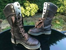 DR MARTENS 1914 Triumph dark brown leather faux shearling lined boots UK 4 EU 37