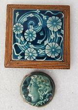 Antique Trent Tile Providential Trenton NJ Blue Glaze Victorian Art Nouveau