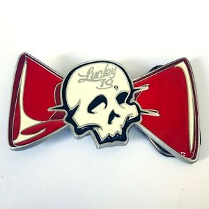 Lucky 13 Gothic Horror Punk Psychobilly 80s 90s Skull Red Bow Metal Belt Buckle