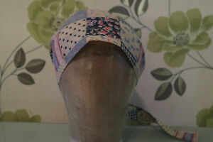 scrub style cap with tie up back. patchwork look