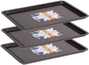 3 X Wham Non-Stick Baking Tray Bakeware Oven Sheet Roasting Tin Pan Loaf 32cm UK