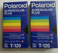 Lot Of 2 Polaroid Supercolor Plus T-120 Blank Video Cassette VHS Tapes Sealed...