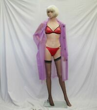 2XL/3XL OPAQUE Purple PVC Fashion Vinyl raincoat Mackintosh TV sexy Mistress