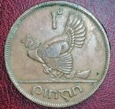 1942 Irish Penny 1d  chicken & Chicks animal coin Ireland Harp  one Pingin