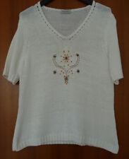 ecddef7fe21785 Hübscher Pullover Pulli Strickpulli Gr. 44/46, L, weiß weiss bestickt  Baumwolle