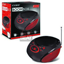Coby Portable AM/FM CD MP3 Boombox 3.5mm AUX Black Red 110-240V CBCD04RED