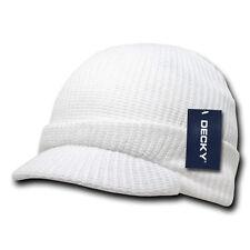 White Solid Visor Jeep Skull Knit Ski Winter GI Military Ribbed Beanie Cap Hat