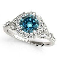 1.30 Carat Alexandrite Diamond Halo Promise Engagement Ring 10k White Real Gold