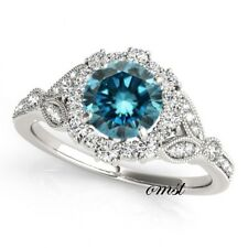 1.00 Carat Blue Diamond Solitaire Promise/Engagement Ring 14k White Gold Over.
