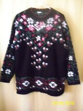 Womens Sweater Black With Floral Design Long Sleeves Scalloped Neckline #13