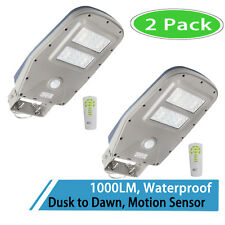 2x Solar LED Street Light Outdoor IP65 Dusk to Dawn Motion Sensor Lamp 1000LM