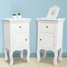 A Pair of Shabby Chic White Bedside Tables with 2 Drawers & 2 Doors Bedroom Set