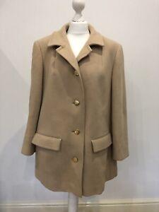 Vintage Aquascutum Coat Size 14 Beige Wool