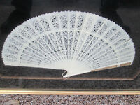 COL CW:    Decorative Celluloid Pierced Carved Fan in Frame