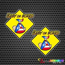 2x BABY ON BOARD WITH PUERTO RICO RICAN  FLAG VINYL CAR STICKERS DECALS