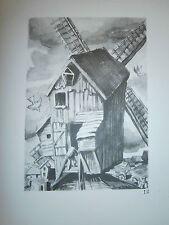 Gravure moulin a vent par P. Valade Nord moulin de la Briarde Hondeghem an 1758
