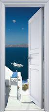 Sticker porte trompe l'oeil déco EscalierLa Grèce 90x200 cm réf 2145