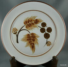 Denby UK Stoneware Salad Plate x 2 Cotswold 1970s Brown Plant Leaves Acorns Stem