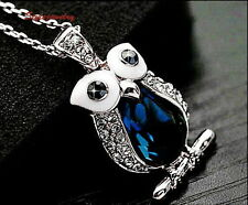 White Gold Filled Blue Sapphire Owl Necklace Made with Swarovski Crystal N57