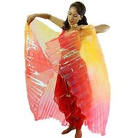 Danzcue Gold-Orange-Red Gradient Belly Dance Worship Angel Wings With Sticks