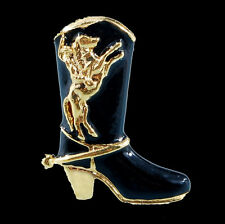 NEW GOLD BLACK STILETTO COWBOY BOOT WESTERN XMAS BROOCH PINS HORSE RODEO LOVER