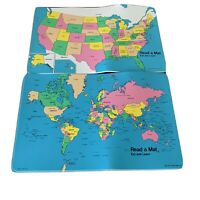 World USA Wooden Map Great Educational For 5 And Up To Learn The States Vintage