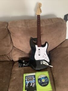 Xbox 360 Harmonix Rock Band 4 Black Fender Stratocaster Wireless Guitar SUPERB
