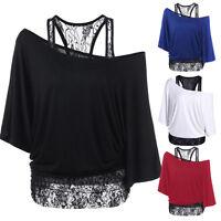 Women Blouse Lace splicing Casual Long Sleeve Top Shirt Plus Loose Cotton Shirts